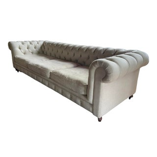 Restoration Hardware Linen Tufted Chesterfield Sofa For Sale