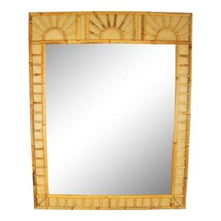 Bamboo Raffia Sunrise Wall Mirror For Sale