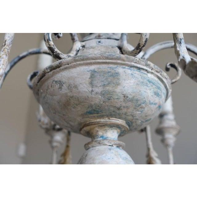 Gustavian (Swedish) Twelve-Arm Italian Painted Chandelier For Sale - Image 3 of 8
