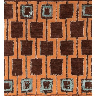 "Modern Contemporary Hand Knotted Geometric Graphic Wool and Silk Rug- 5'6"" × 6′ For Sale"