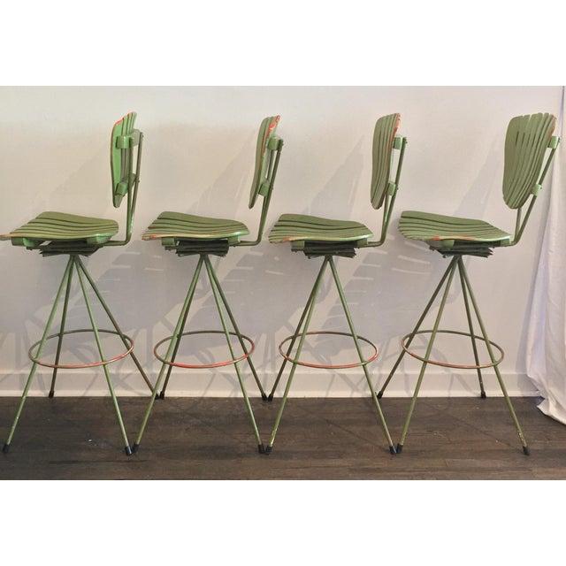 Vintage Molded Mood Slat Barstools - Set of 4 - Image 3 of 5