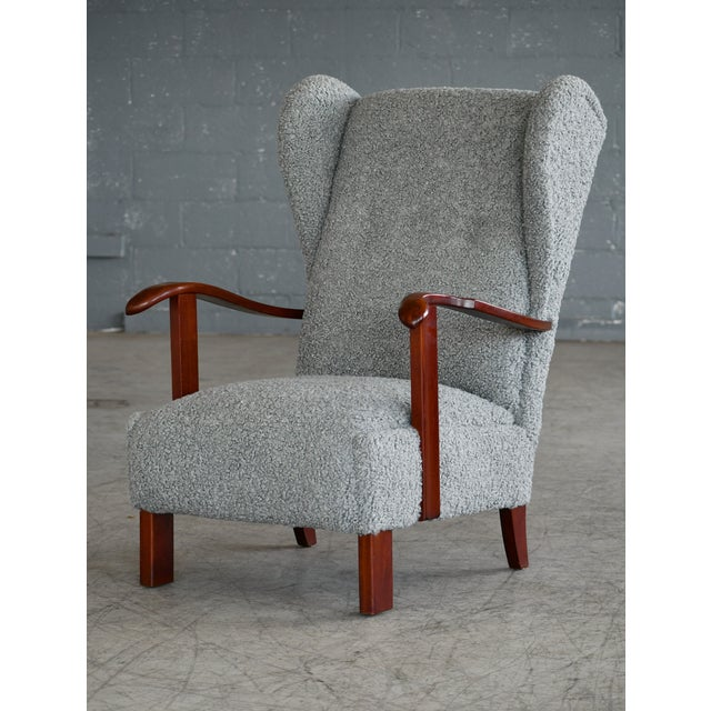 Wood Fritz Hansen Model 1582 Wingback Lounge Chair in Grey Boucle Danish Midcentury For Sale - Image 7 of 13