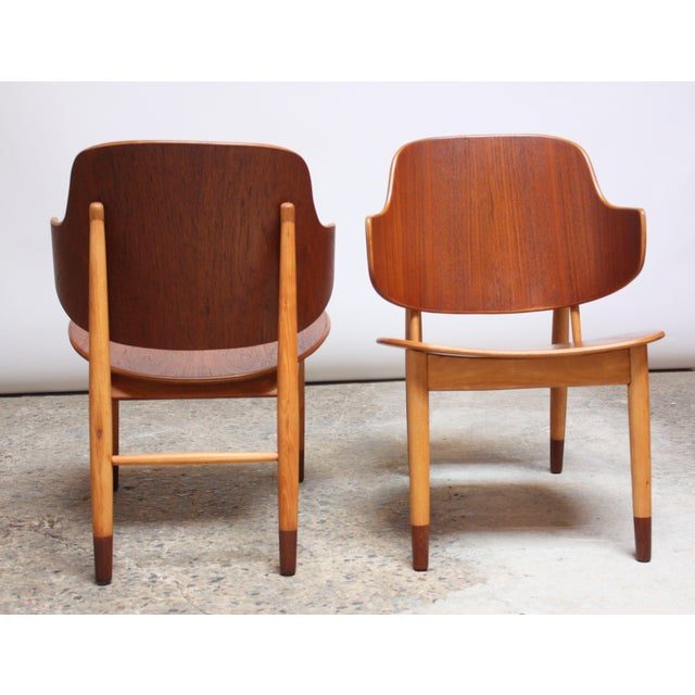 Beech Ib Kofod-Larsen Danish Sculptural Shell Chairs in Teak and Beech - a Pair For Sale - Image 7 of 13