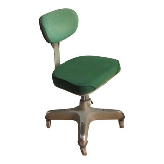 1930s Art Deco Green Wool Desk Chair on Wheels