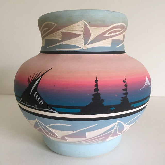 This vintage Native American Navajo signed pink mesa sunset hand painted ceramic pottery vase is a very special and unique...