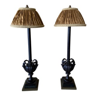 1990s Bronze Lamps With Silk Shades - a Pair For Sale