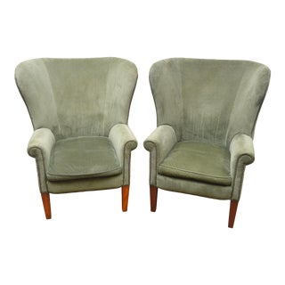 Pair Ralph Lauren Upholstered Arm Chairs For Sale