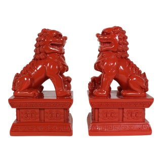 Pair of Chinese Dragon Bookend, Pair of Red Lacquered Bookend, Pair of Bookends For Sale
