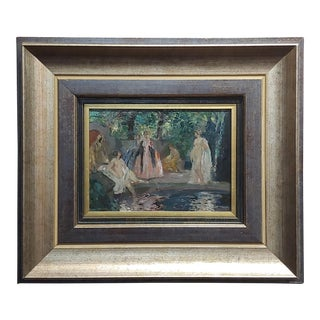 Walter Geffcken -Group of Women Bathing-19th Century Impressionist Oil Painting For Sale
