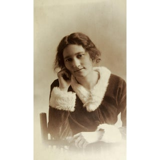 """Circa 1910 """"Young Girl in Fur Trimmed Velvet Dress"""" Portrait Photo Preview"""