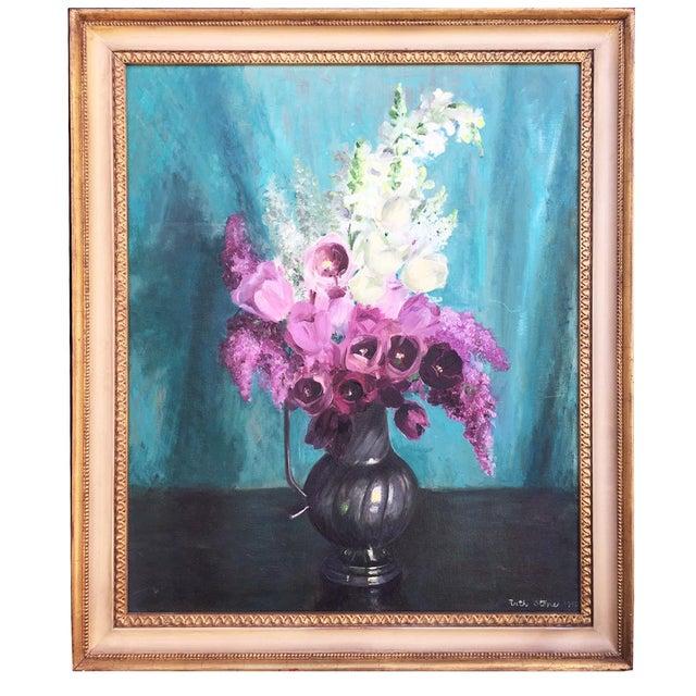 Vintage 1950s Floral Still Life in Pewter Pitcher - Image 1 of 5