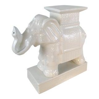 White Ceramic Elephant Garden Seat For Sale