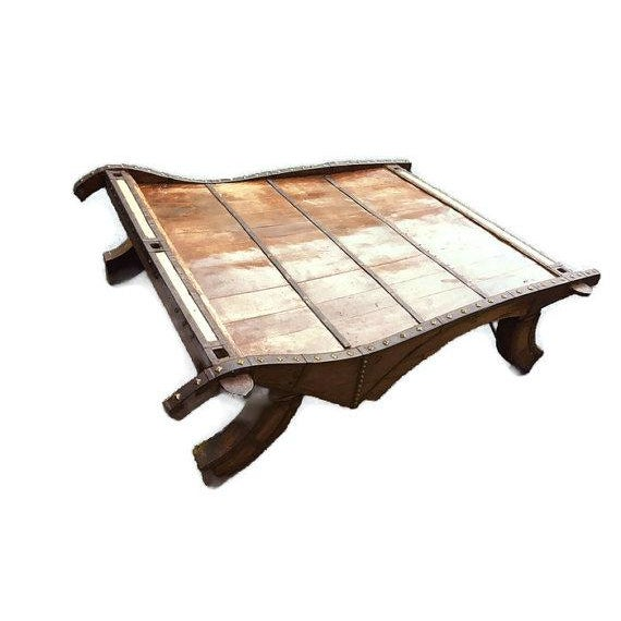 Vintage Indian Ox Cart Coffee Table
