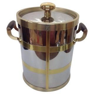 Mid-Century Chrome & Brass Ice Bucket For Sale