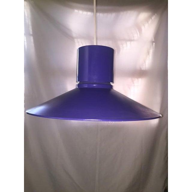 Mid-Century Modern Danish Modern bright blue Lightolier hanging ceiling light fixture pendant lamp. A Lightolier hanging...