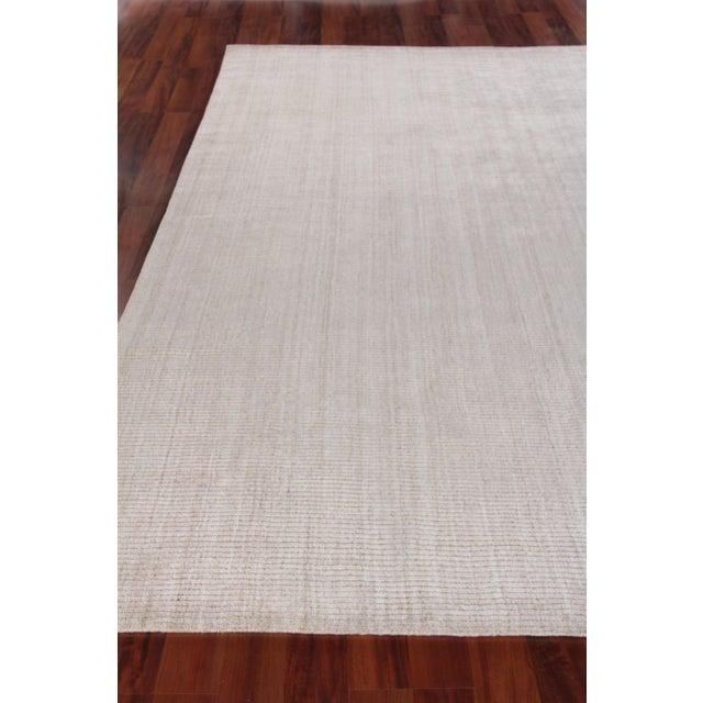 "Hamm Hand loom Wool/Viscose Light Beige Rug-6'x9"" For Sale - Image 4 of 8"