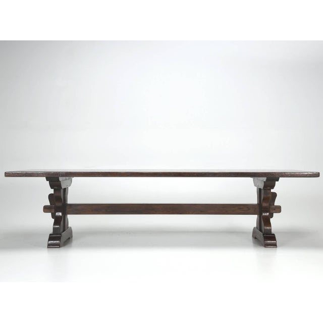 Antique French Oak Trestle Dining Table, Seats 12 For Sale In Chicago - Image 6 of 13