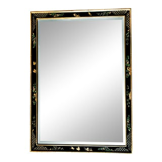 Vintage Hand Painted La Barge Chinoiserie Mirror With Gold Leaf Faux Bamboo Frame, Made in Usa For Sale