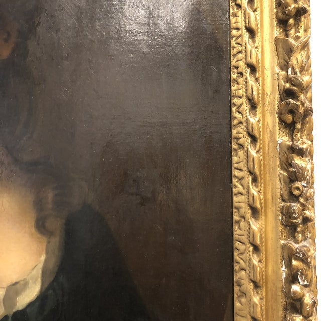 18th Century 18th Century Portrait of a Noble Woman in Carved Gilt Frame For Sale - Image 5 of 13
