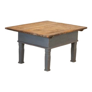 Antique Original Gray Painted Coffee Table With Storage Under Top For Sale