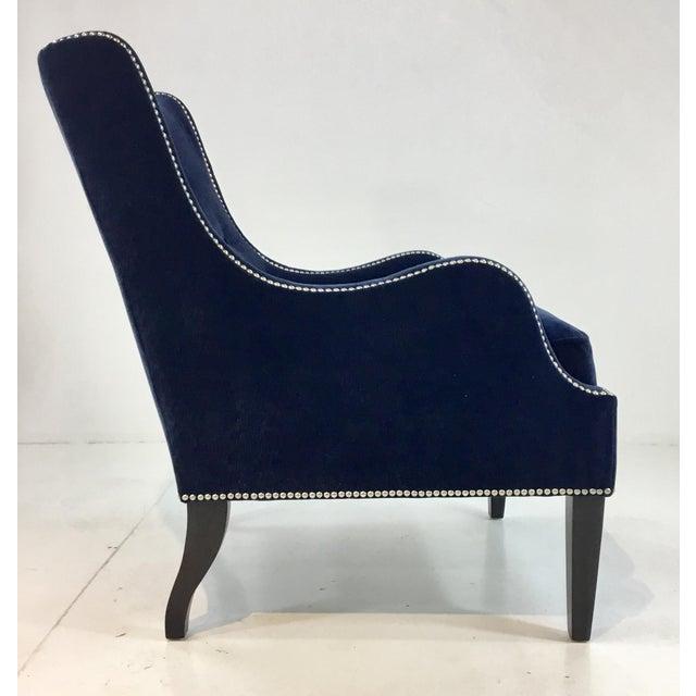 Modern Thomasville Blue Velvet Chandon Club Chair For Sale - Image 3 of 6
