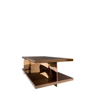 Contemporary Clodette Wood and Bronze Stainless Steel Coffee Table For Sale