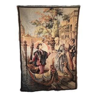 1920 Venetian Gondola Motif Belgium Wool Tapestry Wall Hanging For Sale