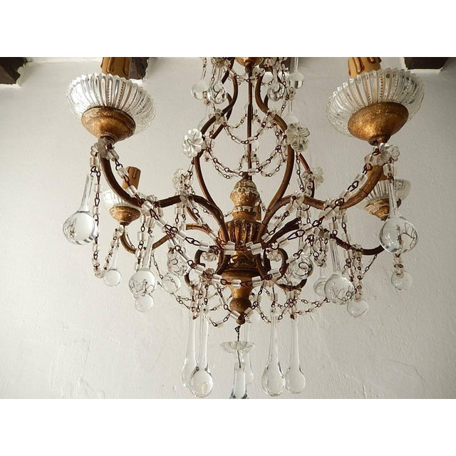 French Baroque Crystal Prisms Swags Old Chandelier For Sale - Image 4 of 11
