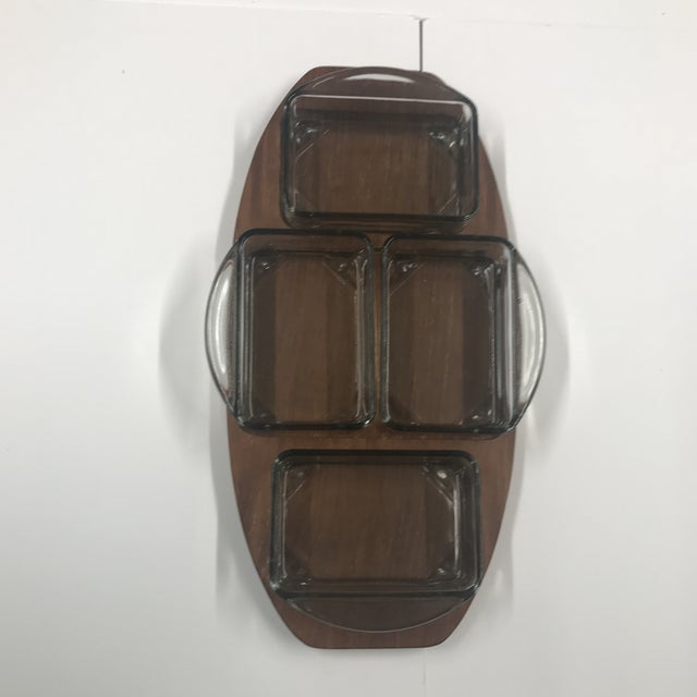 Made in Denmark by Brostrom Design, very nice typical Danish Modern serving piece with glass dishes designed to nest...