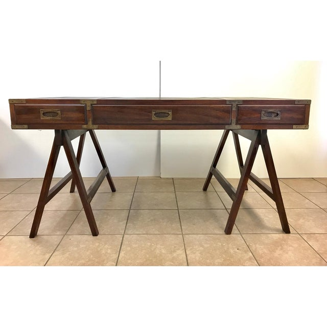 Campaign Rosewood Campaign Desk with Leather Top For Sale - Image 3 of 9
