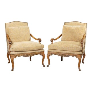 Pair of Minton Spidell French Regency Style Armchairs For Sale