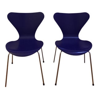 Minimalist Arne Jacobsen Royal Blue Wooden Side Chairs - a Pair