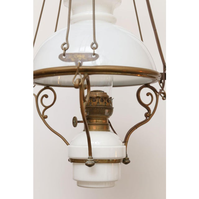 Antique French Milk Glass Hall Lantern For Sale - Image 6 of 11
