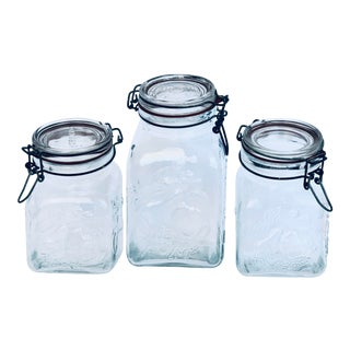 Italian Glass Canisters/Preserve Jars - Set of 3 For Sale