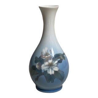 Mid 20th Century Blue and White Royal Copenhagen Vase For Sale