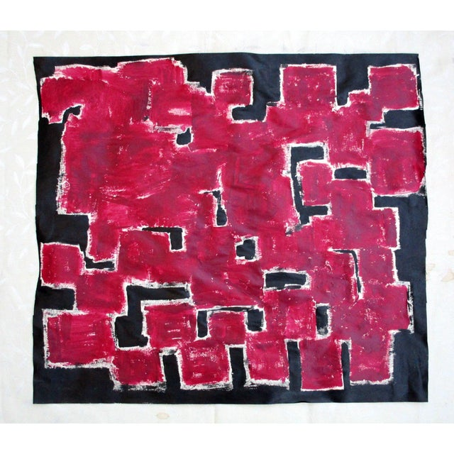 Alaina Bold Abstract Red Black Painting - Image 8 of 11