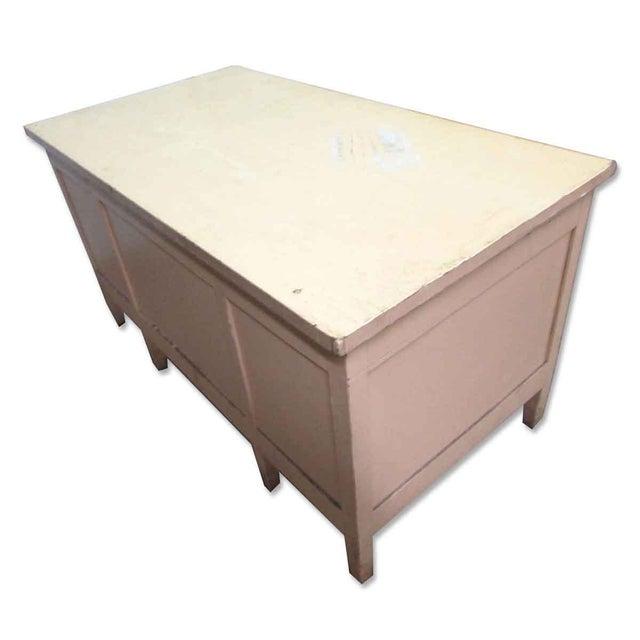 Vintage Six Drawer Oak Wood Desk For Sale - Image 6 of 8