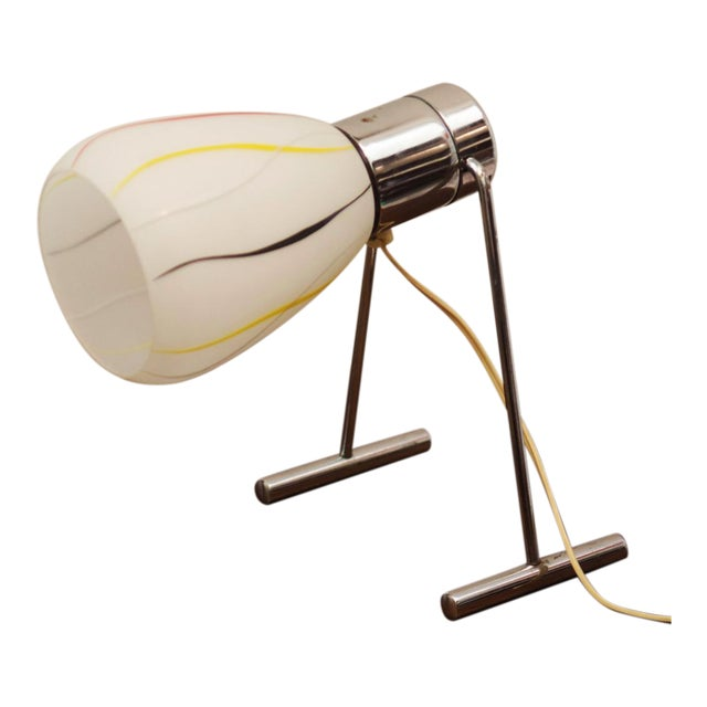 Mid-Century Opaline Glass Table Lamp, 1950s For Sale
