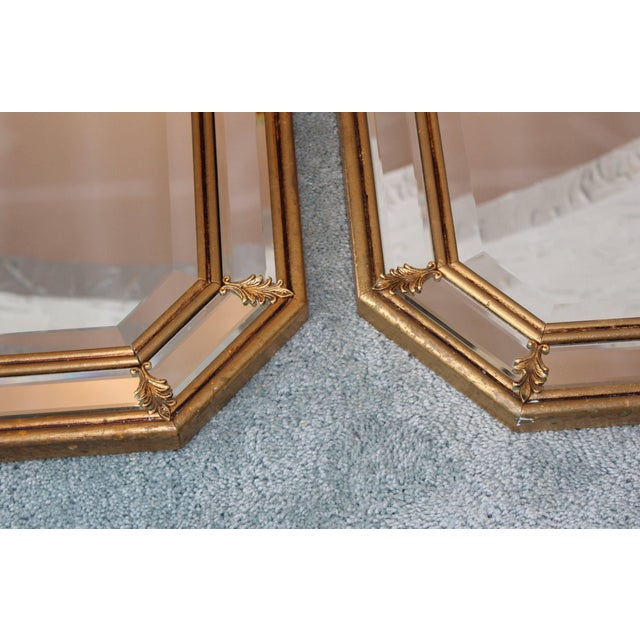 Brass 1950s Italian Gilt Octagonal Mirrors For Sale - Image 7 of 11