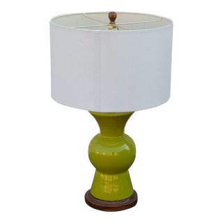 1970s Mid-Century Modern Lime Green Table Lamp With Shade For Sale