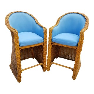 Mid-Century Vintage Rattan Wicker Upholstered Bar Stools - A Pair For Sale