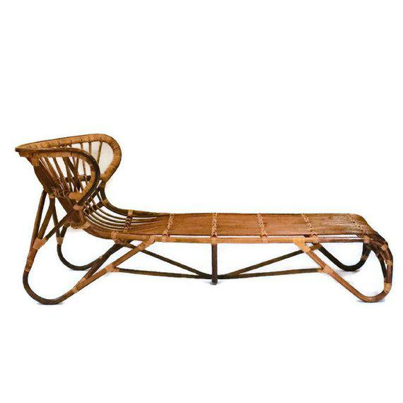 Bamboo Mid Century Modern Franco Albini Chaise Lounge Sculpted Bamboo Daybed For Sale - Image 7 of 12