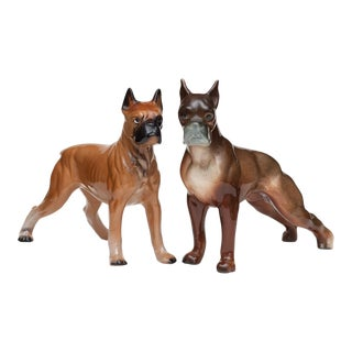 C. 1950s Porcelain Boxer Dog Figurines - Pair For Sale