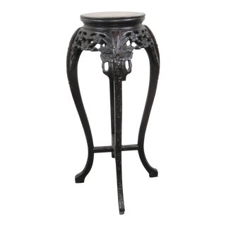 Chinese Carved Marble Top Stand For Sale