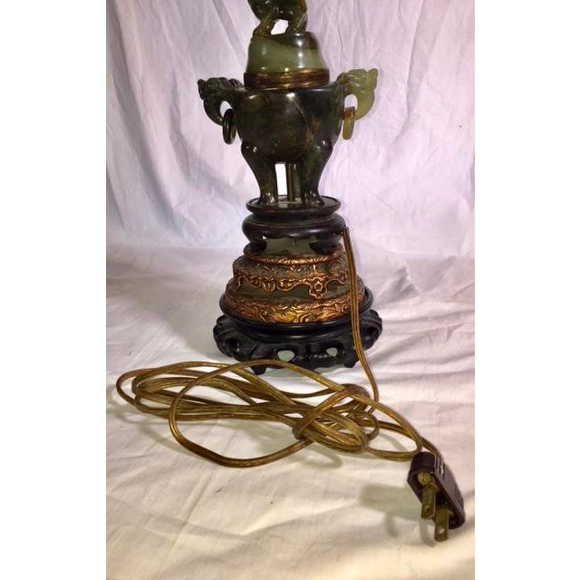Vintage Chinese Jade Lamp For Sale - Image 9 of 13