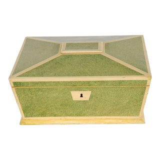 19th C. English Hand Painted Faux Shagreen Box For Sale