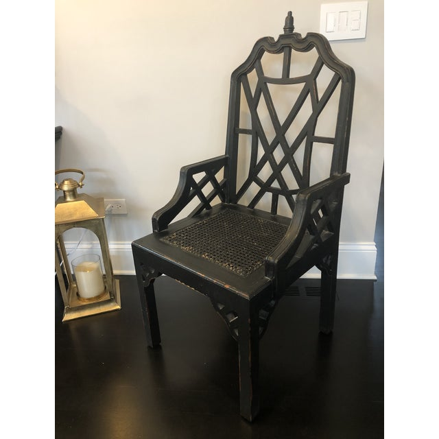 Chinoiserie Chinese Chippendale Desk Arm Chair For Sale - Image 3 of 7