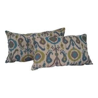 Chenille Ikat Lumbar Pillows- A Pair For Sale