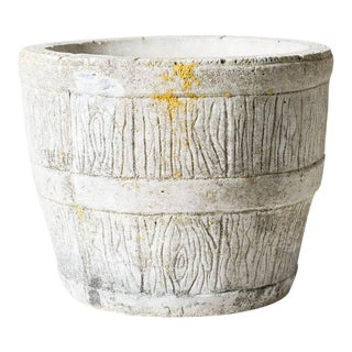 1950s Rustic Off White Stone Barrel Pot For Sale