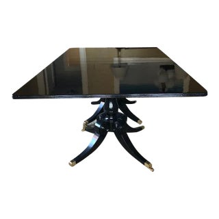 Custom Made Black Lacquer Pedestal Dining Table